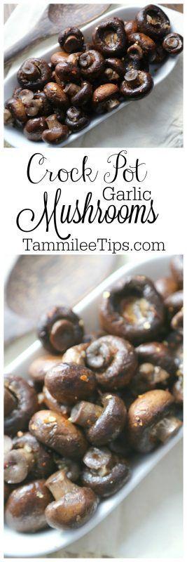 Slow Cooker Crock Pot Garlic Mushrooms