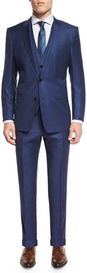 Boss Hugo Boss Hevans Three-Piece Wool Suit, Navy