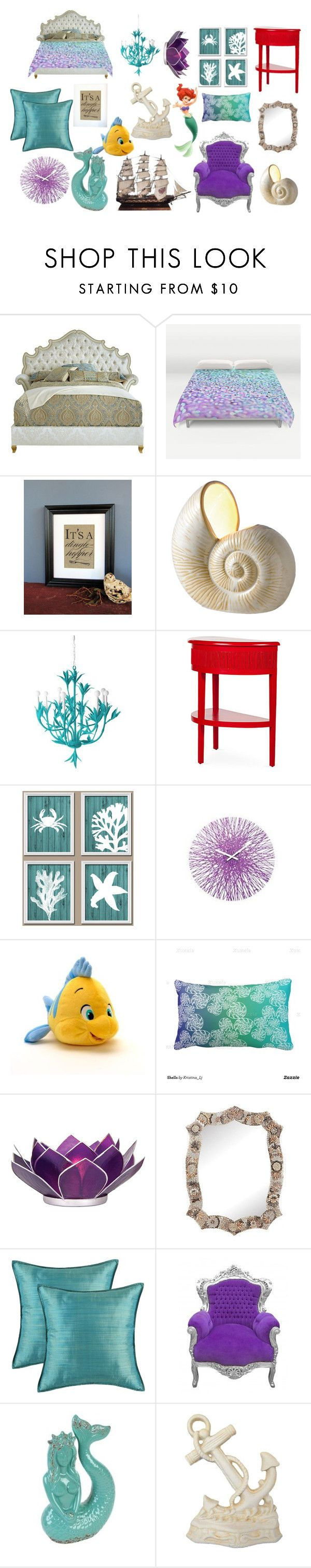 """The Little Mermaid Inspired Bedroom"" by madalynkw ❤ liked on Polyvore featuring interior, interiors, interior design, home, home decor, interior decorating, Haute House, Dot & Bo, Stray Dog Designs and David Francis Furniture"