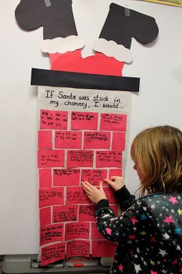 Great writing prompt activity during Christmas time where students help you build the chimney.  Use with any writing prompt