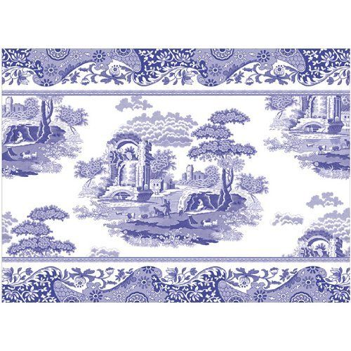 "Spode Blue Italian Cotton Placemat x1 by Pimpernel. $8.99. Measures 16.5"" x 12"". Pack of 1. Cotton Placemat Single - Blue Transfer Scenes On White Background - Current Production With Black Backstamp - Made In Sri Lanka"