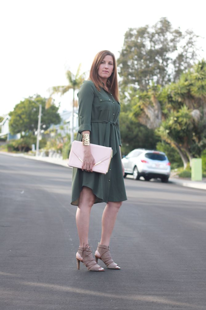 Great way to dress up this olive green shirt dress from Stitch Fix @fashionable_mom