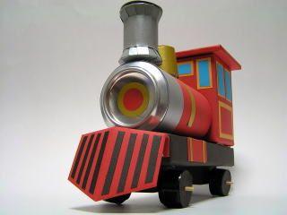 牛乳パックと空き缶工作 蒸気機関車
