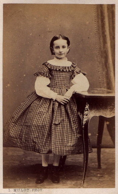 Young French Girl, Photo by: L. Mulot, Paris, France,  Amelie Beaufaud - 7 Years, 2 Months, Date: May 16, 1864 (CDV)