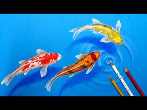 How I draw Koi Fishes in the pond-3D Drawing tutorial - YouTube