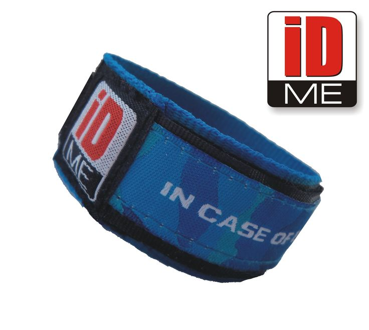 blue camo IDME wristband Child ID / Adult ID Bands Sports ID, Medical ID, Allergy ID, ICE ID