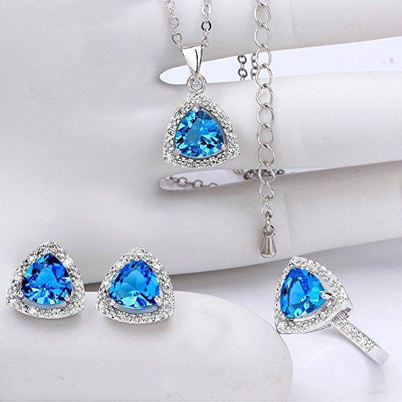 NYKKOLA conjuntos de joyas juegos de amor de la dama de honor cristal azul océano chapado en plata de ley | Joyería online, joyas de Plata y Oro.