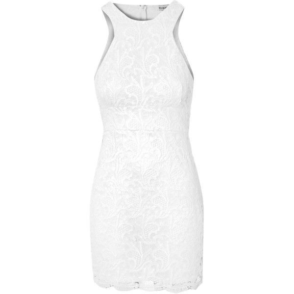 Off White Lace Racer Back Dress (180 BRL) ❤ liked on Polyvore featuring dresses, white, short lace dress, lace cocktail dress, champagne lace dress, short cocktail dresses and lace bodycon dress