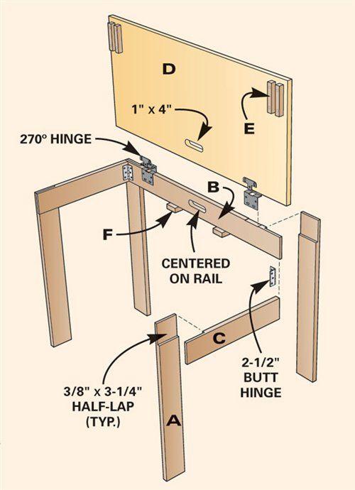 Tavolo richiudibile  piani costruzione