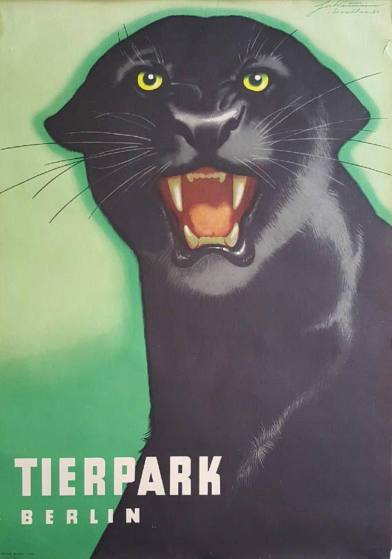 1963 Tierpark Berlin Panther  Original Vintage Poster
