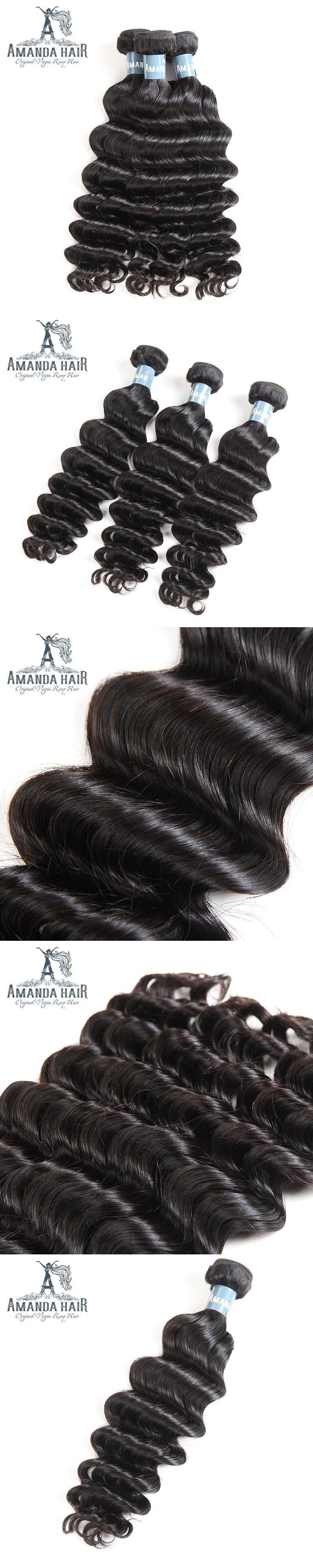 Amanda Malaysian Loose Deep Wave Hair Extension For Salon Deep Loose Wave Bundles Virgin Human Hair 1PC Malaysian Hair Weave