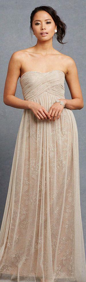 donna morgan beautiful #bridesmaid dress rose strapless empire wedding dress draped bodice #wedding #straplessdress