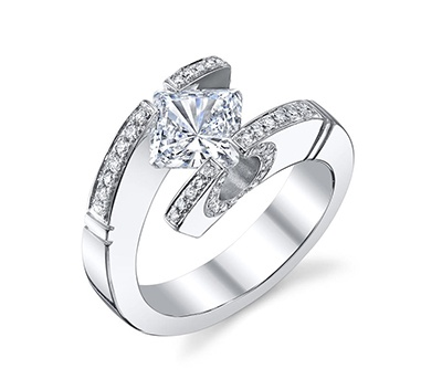 14K White Gold Princess Cut Tension Ring Setting - Kite Style by Novori