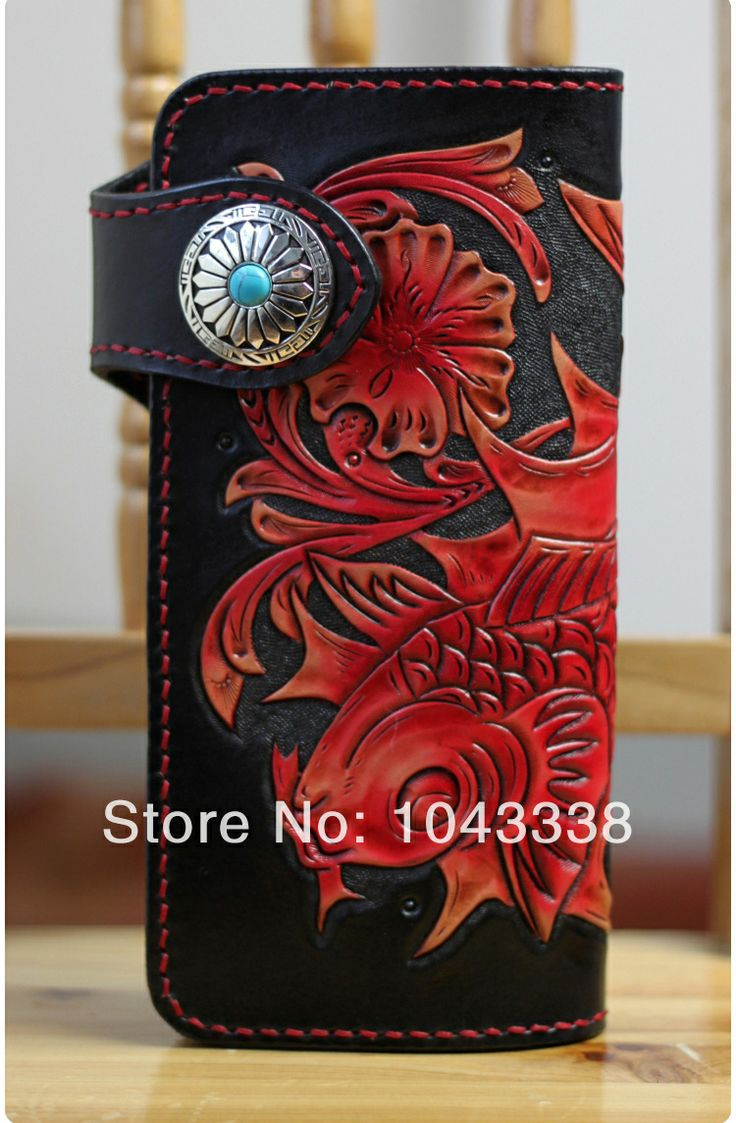 New Leather Handmade Plain cowhide tanned leather Handmade Leather purse wallet lucky red common carp US $139.99