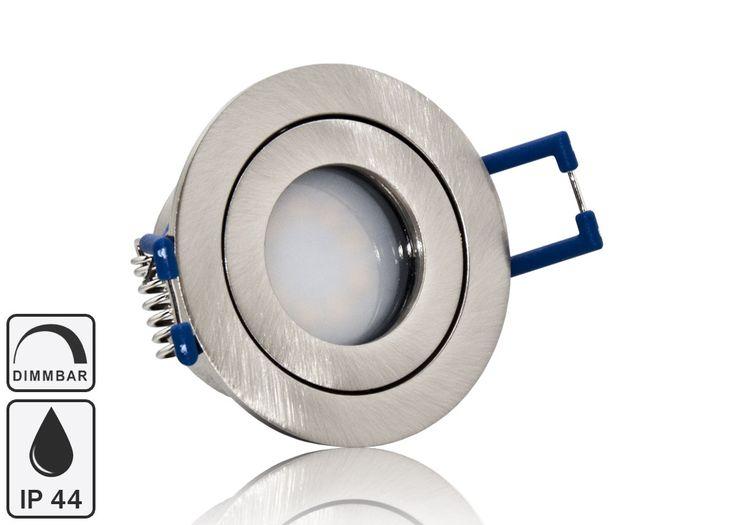 Feuchtraum LED Einbaustrahler Set IP44 MR11 35mm Druckguß gebürstet rund mit Marken Flat LED Spot LC Light 3 Watt 230V Dimmbar