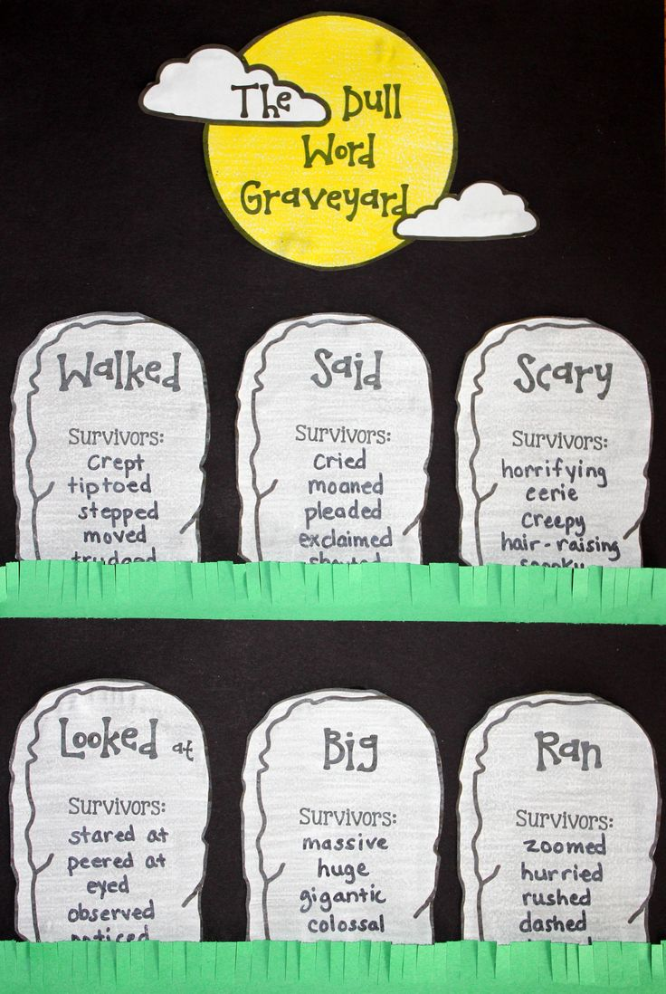 17 best ideas about descriptive words vocabulary word choice halloween craftivity the dull word graveyard halloween classroom activitieshalloween writing