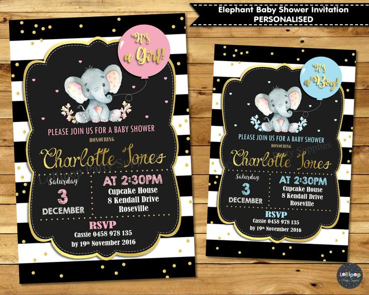 Elephant Baby Shower Personalised Invitations - Gold & Pink - Gold & Blue - Printed or Digital - Ship Worldwide. www.lollipoppartysupplies.com.au