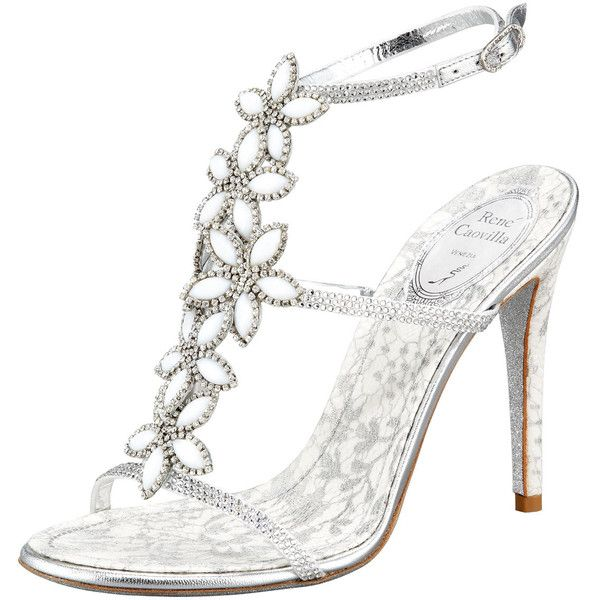 Nicki Ripp...OMG these are my dream wedding shoes.  Renee Caovilla Floral-Strap Sandal found on Polyvore