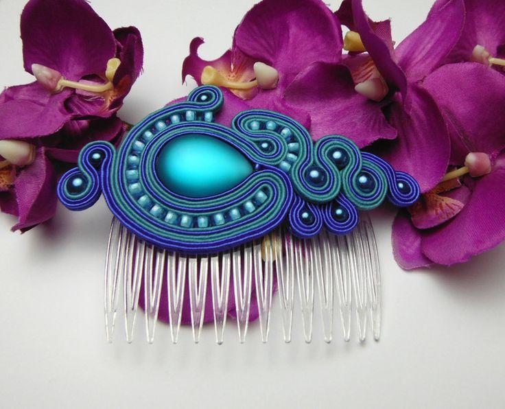 Headcomb hair ornament VINTAGE COMB SOUTACHE
