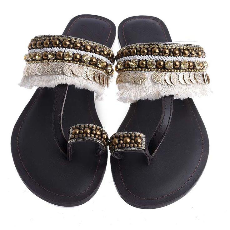LEATHER SANDAL-BROWN-GOLD COLOR - Sandals