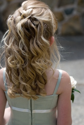 Flowergirl half up with soft braid and curls
