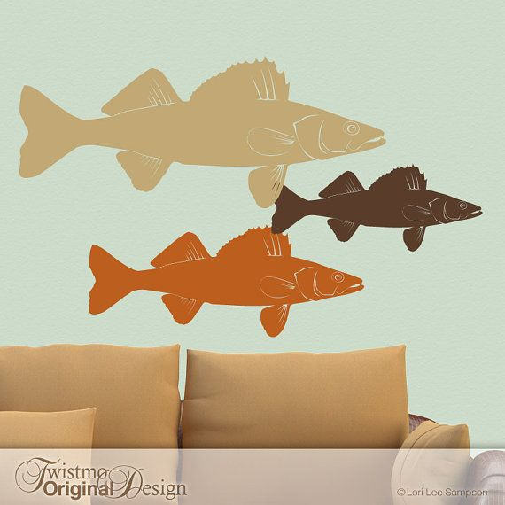 Need this for my house. Three Walleye Fish Vinyl Wall Decals for the Outdoor by Twistmo, $68.00