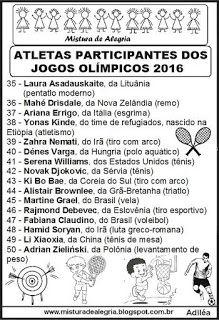 Atletas participantes das olimpíadas 2016