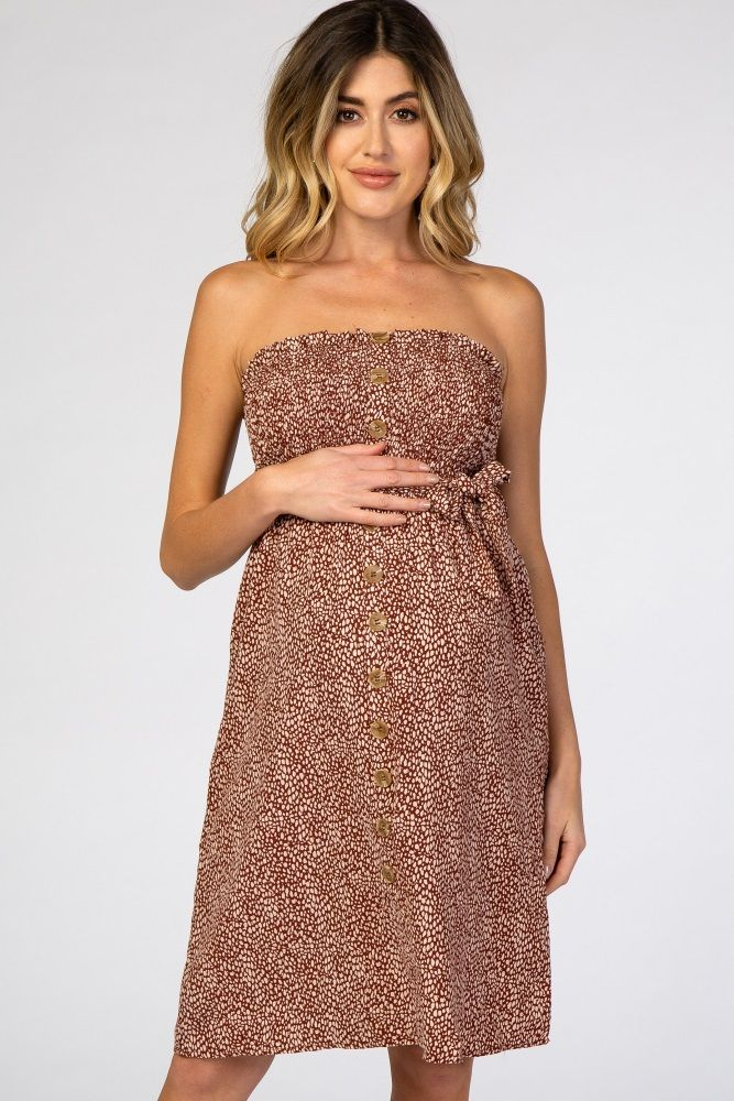 Rust Spotted Strapless Smocked Button Detail Maternity Dress