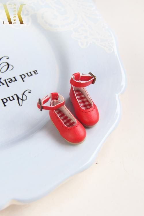 B057 Red Ankle Strap Flats Shoes for Blythe Pullip Dal Azone Poppy Parker