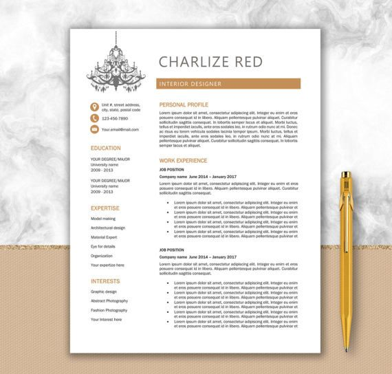 Interior Designer Professional Resume Personalized Design - interior design resume template
