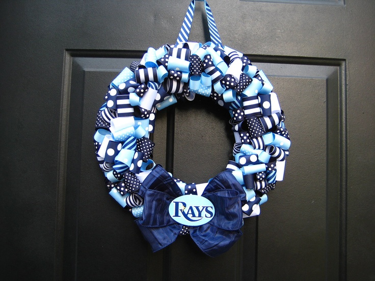 Tampa Bay Rays Ribbon Wreath Custom Any by APinkLemonadeDesigns