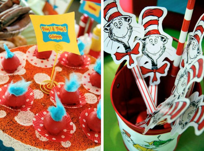 Dr Seuss Cat in the Hat 1st First Birthday Party via Kara's Party Ideas- www.KarasPartyIdeas.com: 1St Birthday Parties, Seuss Cat, First Birthdays, Dr. Seuss, Birthday Party Ideas, 1St Birthdays, Has, Dr Seuss, Birthday Ideas