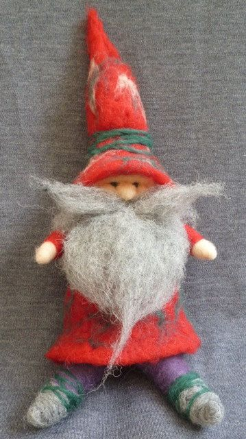 Needle felted Holiday Gnome of natural wool by artedellalana love the mustache and hat