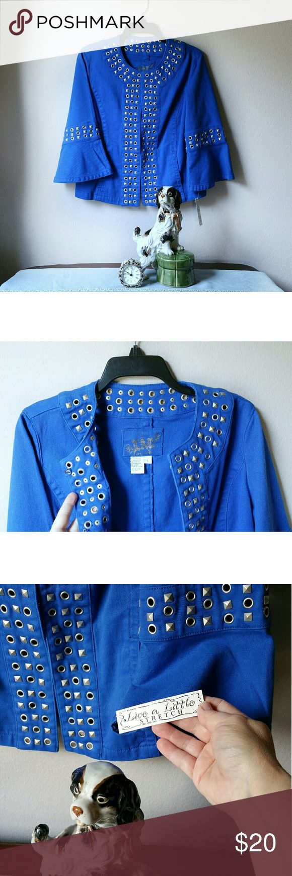 Live a Little  Royal Blue Jacket Gorgeous Royal blue Jacket with grommet and stud adorned. 97% cotton  3% spandex  New w/t LIVE A LITTLE Jackets & Coats Jean Jackets