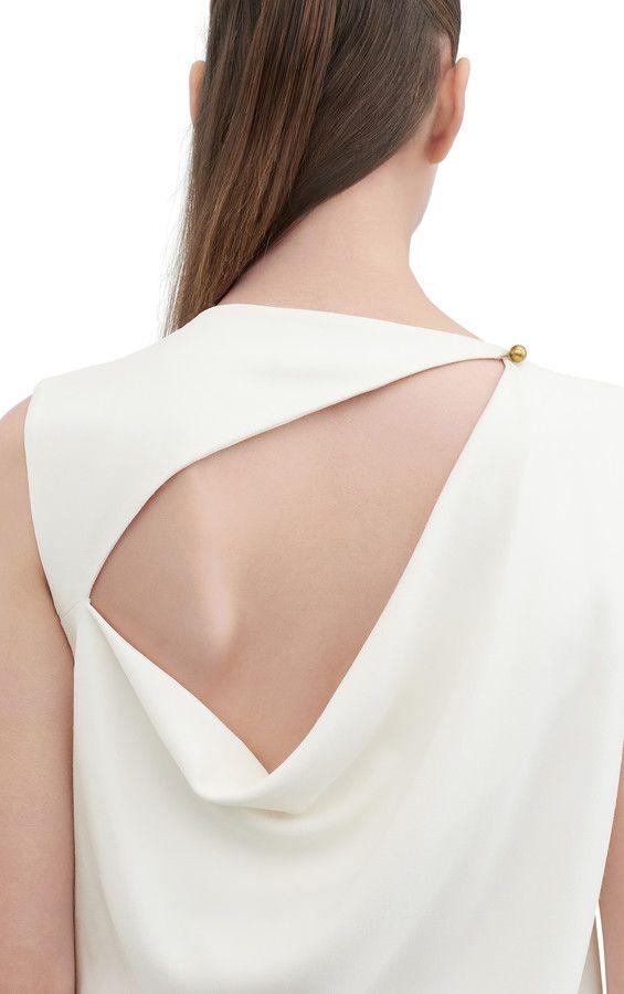Acne Studios Caprice Str Cr Off White Stretch crepe dress