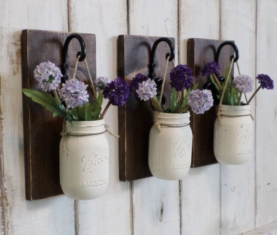NEW...Rustic Farmhouse... Wood Wall Decor...Individual Hanging Painted Mason Jars...Your Choice of Color