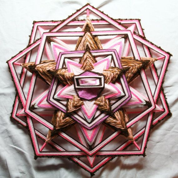 Large Pink Brown Mandala God's Eye by PsyMagic on Etsy, €90.00