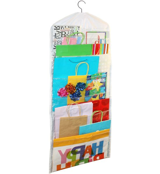 This Hanging Gift Bag Organizer protects and stores all of your gift bags and flat wrapping supplies in one easy location. The clear pockets on this gift bag organizer provides easy visual access to gift bags while also conveniently hanging on any closet rod. Hold up to 150 gift bags with this gift bag storage solution