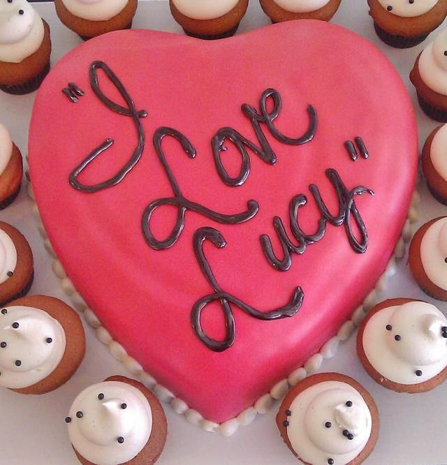 I Love Lucy cake and cupcakes love the white with black dots...the heart cake could be the smash cake?