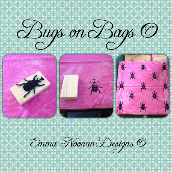First sample of a full print of bugs on bags, using my own homemade stamp  #HandmadeinIreland #CraftinIreland