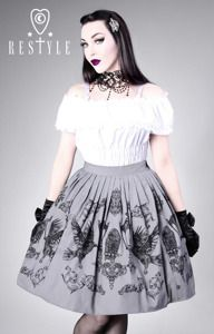 "47.52e ""CROWS AND LANTERNS"" gray, gothic lolita skirt, ravens"