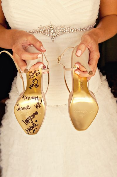 bachelorette party idea: have best friends sign my shoes to show support on big day