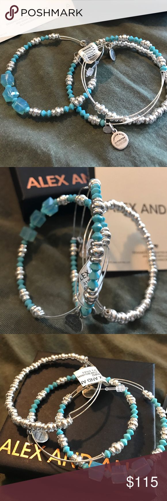 Alex and ANI Retail Store Exclusive Set of 3 Gorgeous Set of 3 Turquoise And Silver Beaded Bangles, an Alex and ANI Retail Store Exclusive.  NWT!  Will come with A&A box and cards. Alex & Ani Jewelry Bracelets