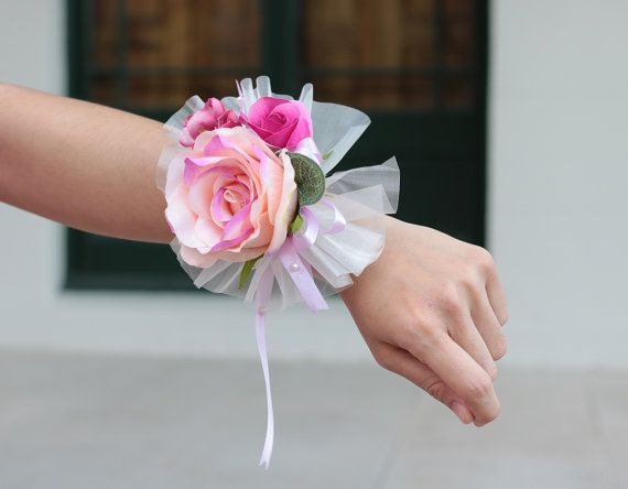 2 Pieces Silk Pink Rose Wrist Corsage and by AliceThorWeddings