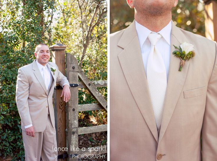 groom, grooms look, mens fashion, khaki groom, bouttoniere, wedding photographer, grooms portrait :: Katie + Kevin's Wedding Day at Vinewood Plantation in Newnan, GA :: with Anna
