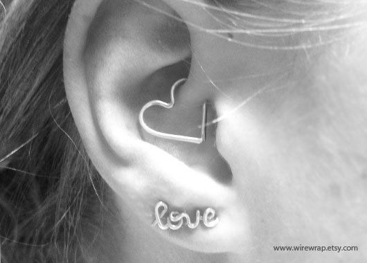 Heart Cartilage Earring Ear Heart Jewelry Daith Rook by wirewrap -- seriously love this idea!