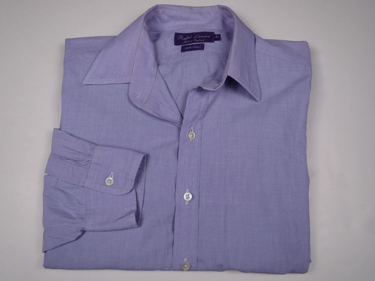 Ralph Lauren Purple Label Button Down Purple Dress Shirt 16 Made in England #RalphLaurenPurpleLabel