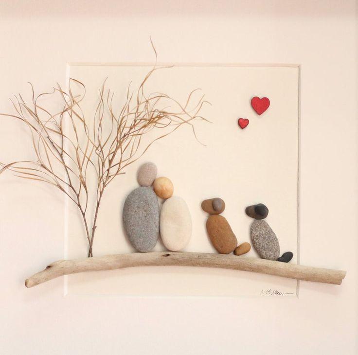 Kiesel-Kunst-paar mit 2 Hunden, Kiesel-Kunst-Familie von 2 mit Hunden, Valentinstag Geschenk, Kiesel Kunst Hunde, Muttertagsgeschenk, Kiesel Kunst-paar