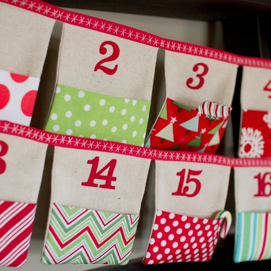 $75.00  Christmas Advent Calendar Fabric Bunting