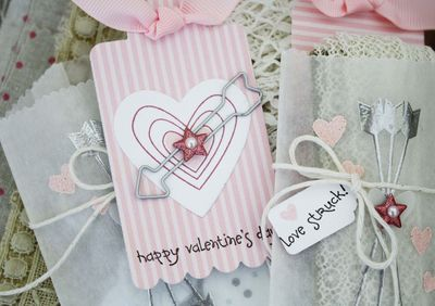melissa's silver embossed cupid's arrow glassine treat bags with a layered heart valentine inside - i'm love struck!